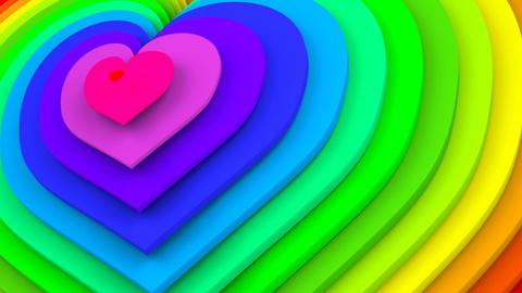 Rainbow spectrum heart shapes seamless loop 3D animation Animation
