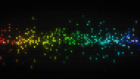 Rainbow spectrum cubes on black tile loopable animation Animation