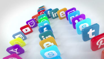 Social Media Falling Dominoes After Effects Templates