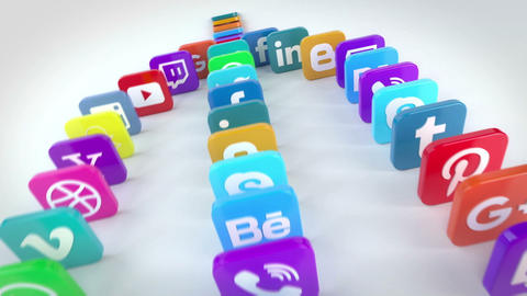 Social Media Falling Dominoes After Effects Template