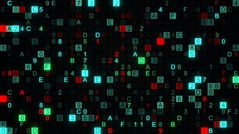 Digital data hex code symbols seamless loop animation Animation