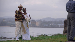 A bride getting photographed in light rain,Galle,Sri Lanka Footage