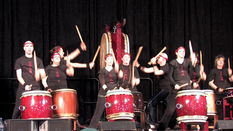 Taiko Drummers Performing at an Asian Festival Live Action