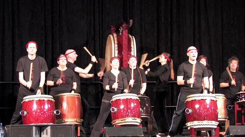 Taiko Drummers Performing at an Asian Festival Footage