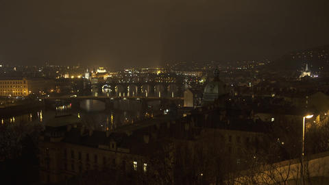 Vltava River Prague At Night HD stock footage