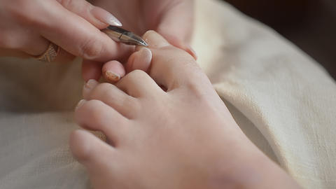 Woman Getting A Pedicure In Salon Footage