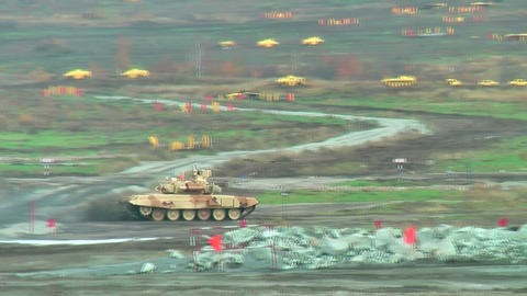 Modernized Tank T-90S In Action stock footage