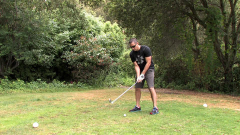 Man Playing Golf On A Golf Course Footage