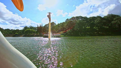 High Fountain on Wide Lake Water Ripple Forestry Bank in Park Footage