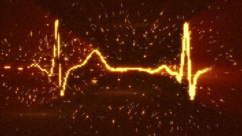 Orange EKG electrocardiogram waveform loopable animation Animation