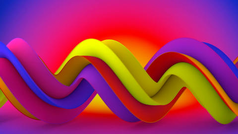 Bright color spiral 3D shape spins seamless loop animation Animation