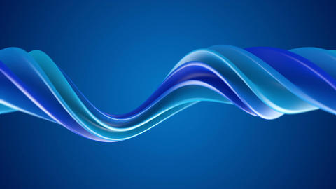 Blue twisted spiral 3D shape spinning seamless loop Animation