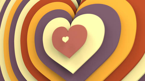 Vintage color heart shapes growing seamless loop 3D animation CG動画素材