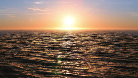 Beautiful Sunset at Ocean Looped 3d Animation. Sun Shining Bright with Flares. 4 Animation