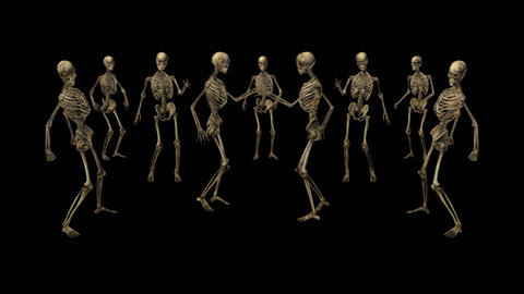 Skeletons are dancing,loop, animation, Alpha channel Animation