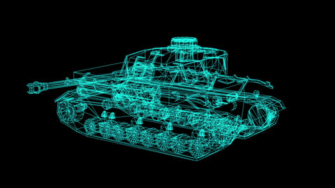 3d rendering - wire frame model of Tank Hologram in Motion Animation