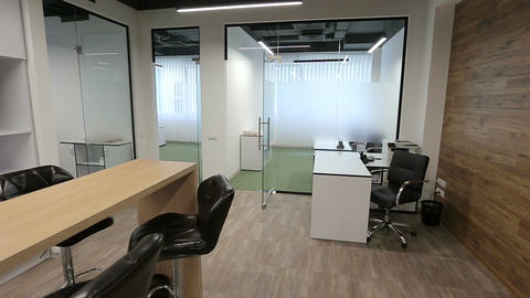 Steadicam. Modern Office Interior. Smooth motion. Business center Image
