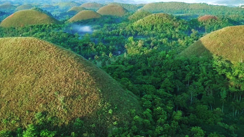 Aerial view of Chocolate hills. Trucking shot Live Action