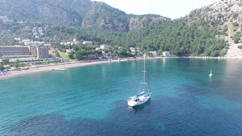 Sailboat Aerial Footage Turunc Marmaris, Turkey Footage
