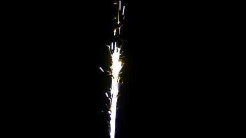 Sparkler yellow-blue on ALPHA MATTE 24 FPS slow motion Footage