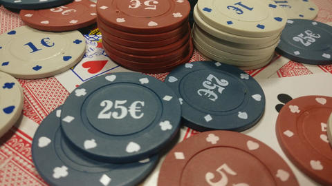 Poker chips and playing cards Footage