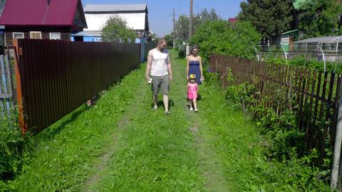 Happy family walking Footage