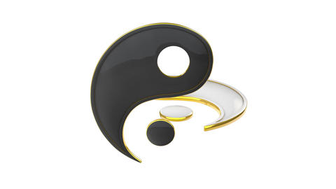 Yin Yang (the energy of life). Constant struggle of two opposites. Eastern cultu CG動画素材