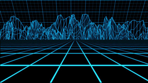 Blue Holographic Tron Grid Environment Motion Element Background CG動画素材