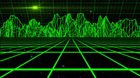 Green Outer Space Holographic Environment Motion Graphic Background Animation