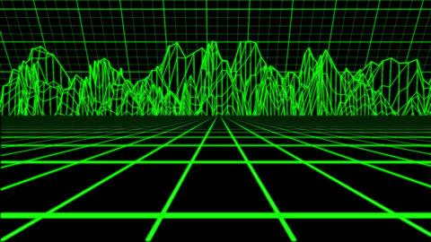 Green Holographic Tron Grid Environment Motion Element Backdrop Animation