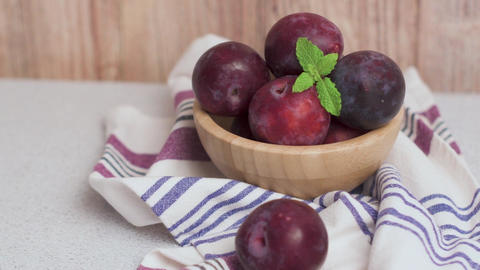 Delicious red plums