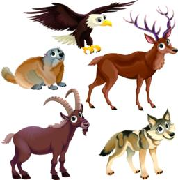 Funny mountain animals, deer, eagle, groundhog, steinbock, wolf ベクター