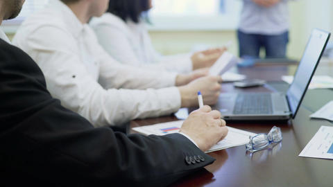 Human resources board interviewing candidate for job in company, employment Footage