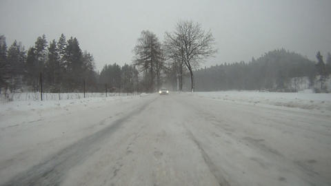 Driving Car On Snow stock footage