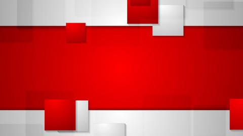 Red grey bright abstract squares tech video animation. Seamless loop design Animation