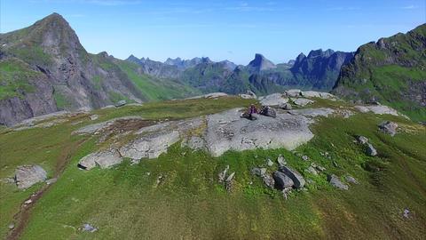 Hikers on Lofoten islands in Norway Footage
