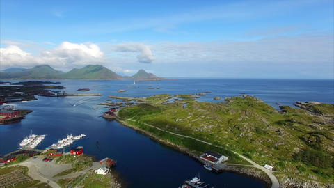 Flying above port of Ballstad on Lofoten islands Footage