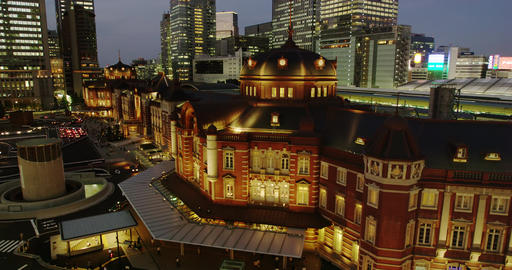 Elevated View Night View of Tokyo Station Live Action