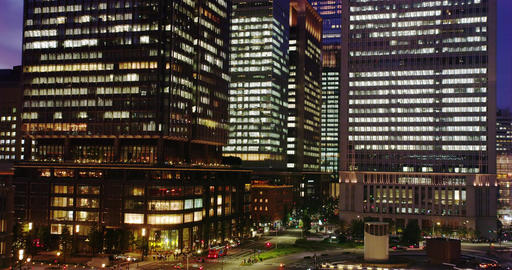 Hi Rise Office Buildings around Tokyo Station at Night Footage
