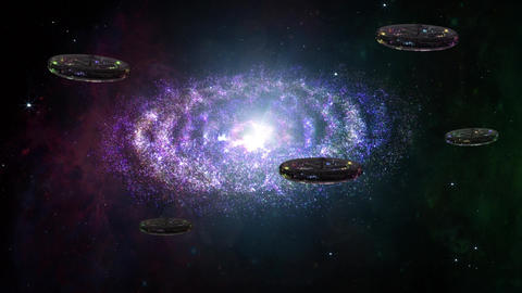 4 K UFO Spaceships in Planetary Nebula Clouds in Galaxy 1 Animation
