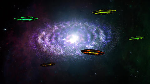 4 K UFO Spaceships in Planetary Nebula Clouds in Galaxy 5 Animation