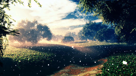 Amazing Natural Wonderland in the Sunset Sunrise with Fireflies 7 Animation