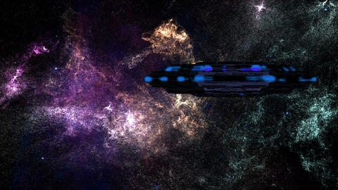 UFO in Planetary Nebula Clouds in Galaxy 2 Stock Video Footage