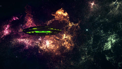 UFO in Planetary Nebula Clouds in Galaxy 5 stylized Animation
