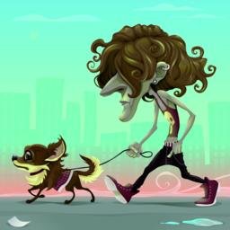 Guy with dog walking on the street ベクター