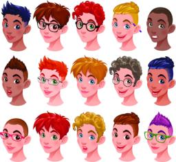 Set of boys with different hairstyles and accessories ベクター