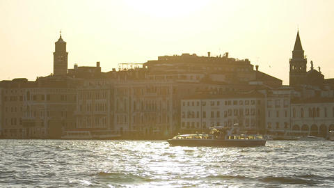 Splendid holidays, sightseeing Venice, voyage boats on the Grand Canal, slow-mo Footage