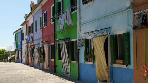 Original style of colorful houses in Burano Island, vivid architecture, Venice Footage