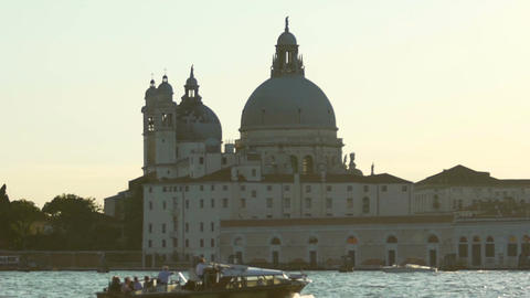 Sightseeing voyage by motorboat to Italian historical holy places of interest Live Action