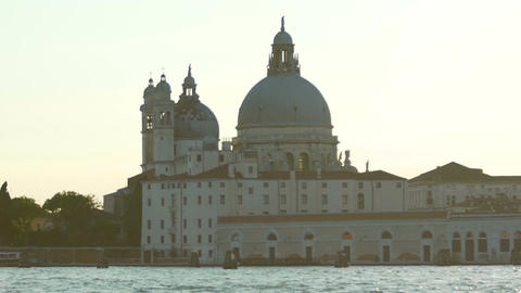 Dome of Santa Maria Della Salute church on Venice dusk skyline, travel to Italy Footage